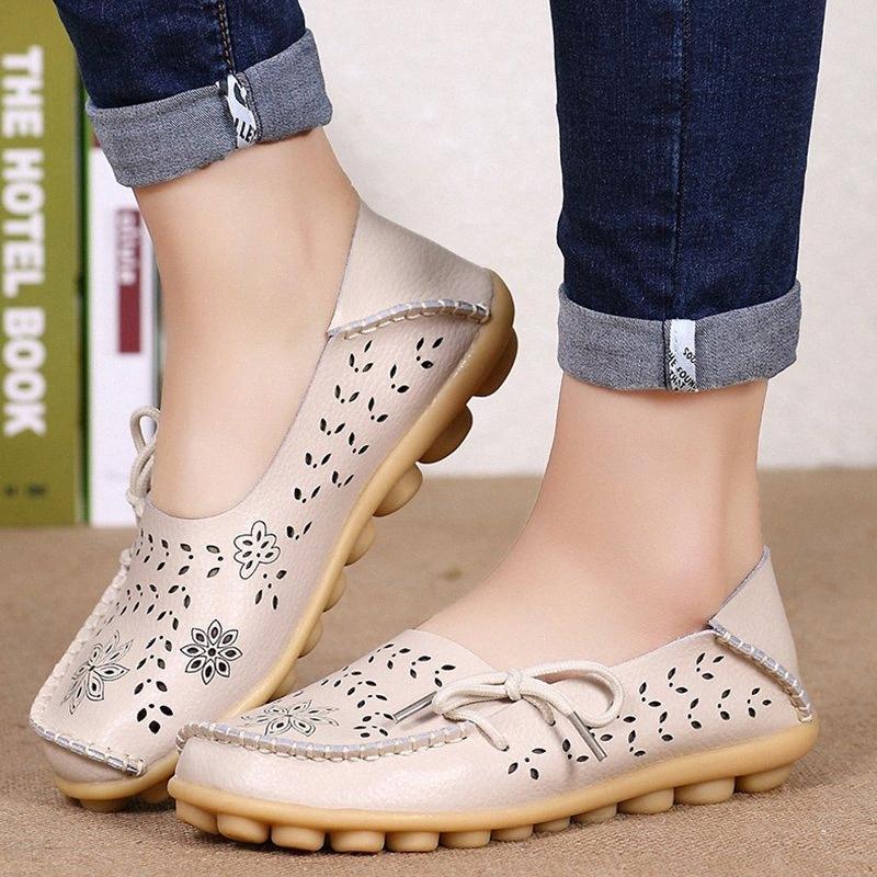 Frauen-Ebene-Frauen-echtes Leder-Schuhe Slip-on-Loafers Frau Weiche Ballerina-Schuhe plus Größe 35 44 Beiläufiges Sapato Feminino QoR3 #