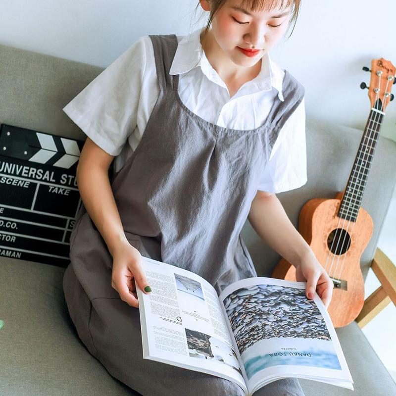 Limpeza Trabalho Doméstico Adult Home Coverall Florista mangas Bib algodão avental da cozinha café torrado avental