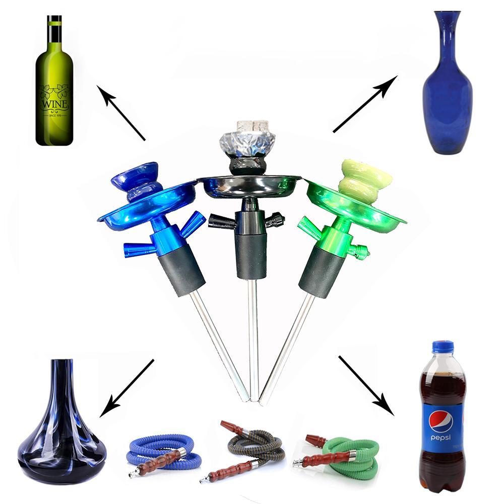 Cachimal portátil universal Shisha Shisha Champagne Botella de vino Top Kit de tallo Hookahs Manguera de tubos Fumar Accesorios Complete con tazón