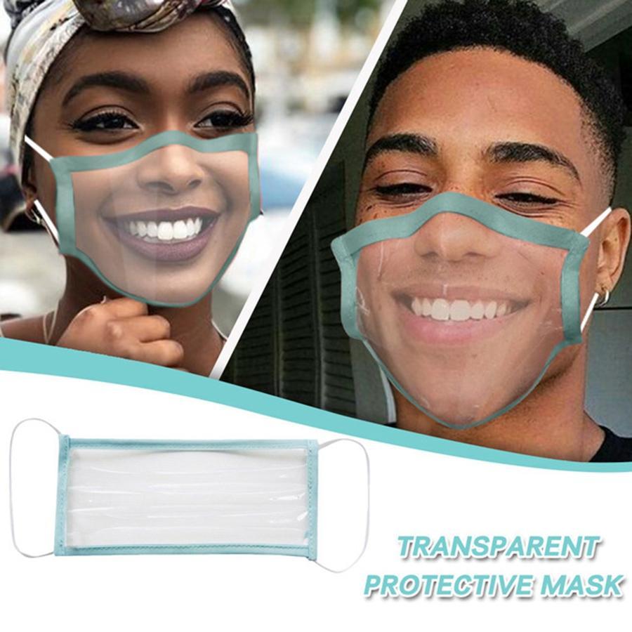 Deaf Mute Transparent Gesichtsmaske Anti-Staub Earloop Reusability Adult Außen Waschbar Klar Designer Masken DDA224 Maske