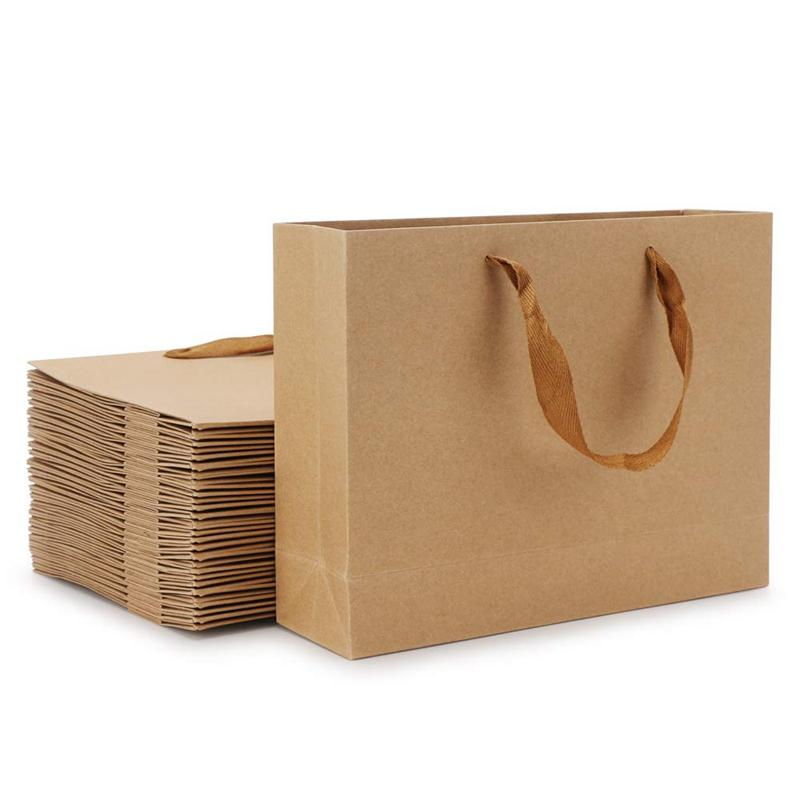 Сумки AFBC Крафт-бумага, 8,3 дюйма х 3,1 дюйма х 10,6 20шт Коричневый Крафт бумага подарочные пакеты с мягкой тканью Ручки, Магистральный Магазины