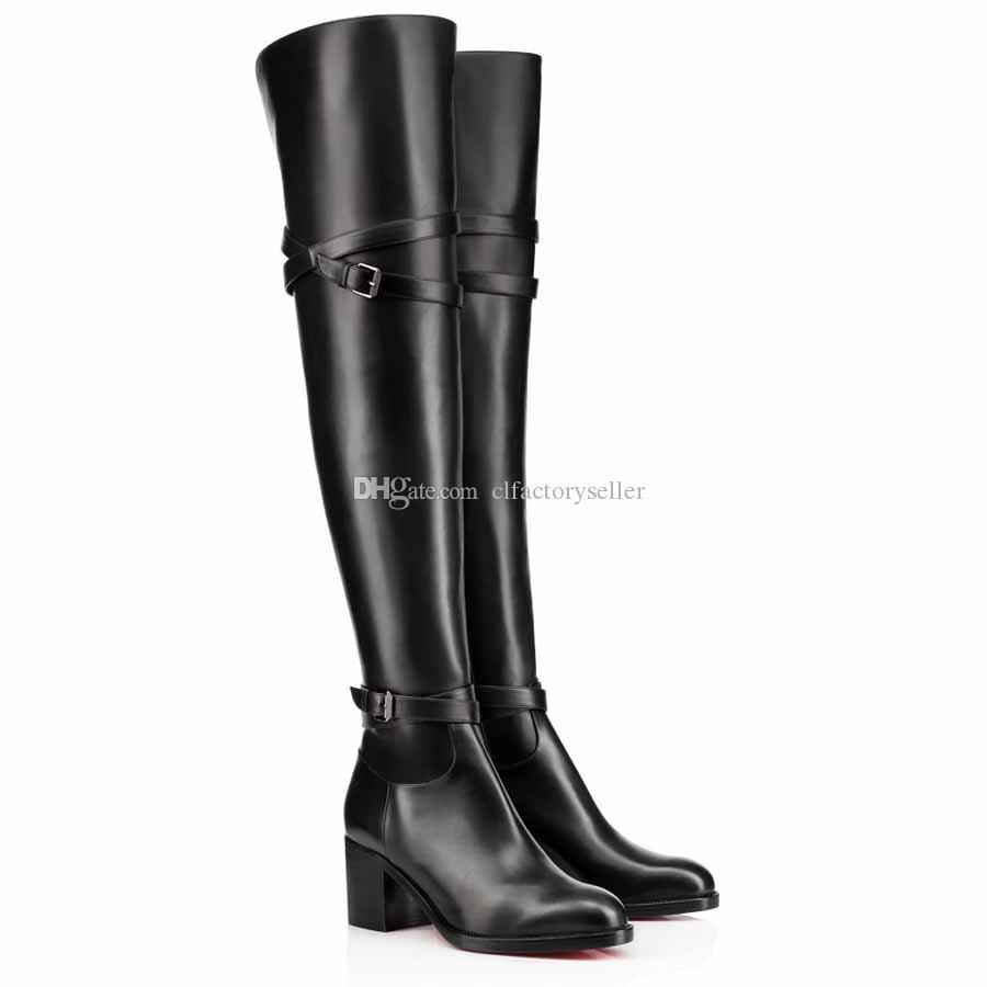 Inverno Alto Bota Mulheres Sapatos, Luxo Red Bumbum Feminino Botas Red Sole botas altas da coxa Sexy Lady Ao longo do joelho Karialta Preto Couro Par