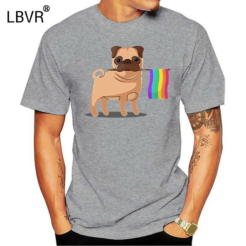 T-shirt girocollo fresco dell'uomo shirt Gay Pride di bandiera Pug LGBT Orgoglio di stampa di modo degli uomini T Summer Style brevi camice di moda