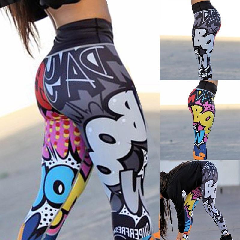 Женская мода 3D Печатные Йога Брюки Леггинсы Спорт GYM Бег Тощий тренировки гетры брюки карандаш мультфильм высокой талией Длинные брюки