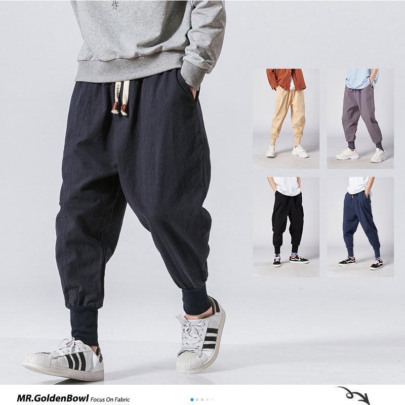 MRGOLDENBOWL STORE uomo Harem Pantaloni Giapponese Casual Biancheria di cotone Biancheria da jogger Pantaloni da jogger cinese BAGGY