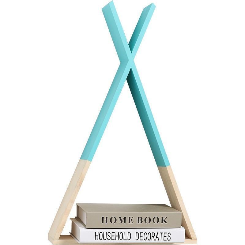 Marco creativo Triángulo Casa de la pared del estante de exhibición del estante de la sala dormitorio de los niños de decoración de interior Crafts de almacenamiento en rack de la venta caliente