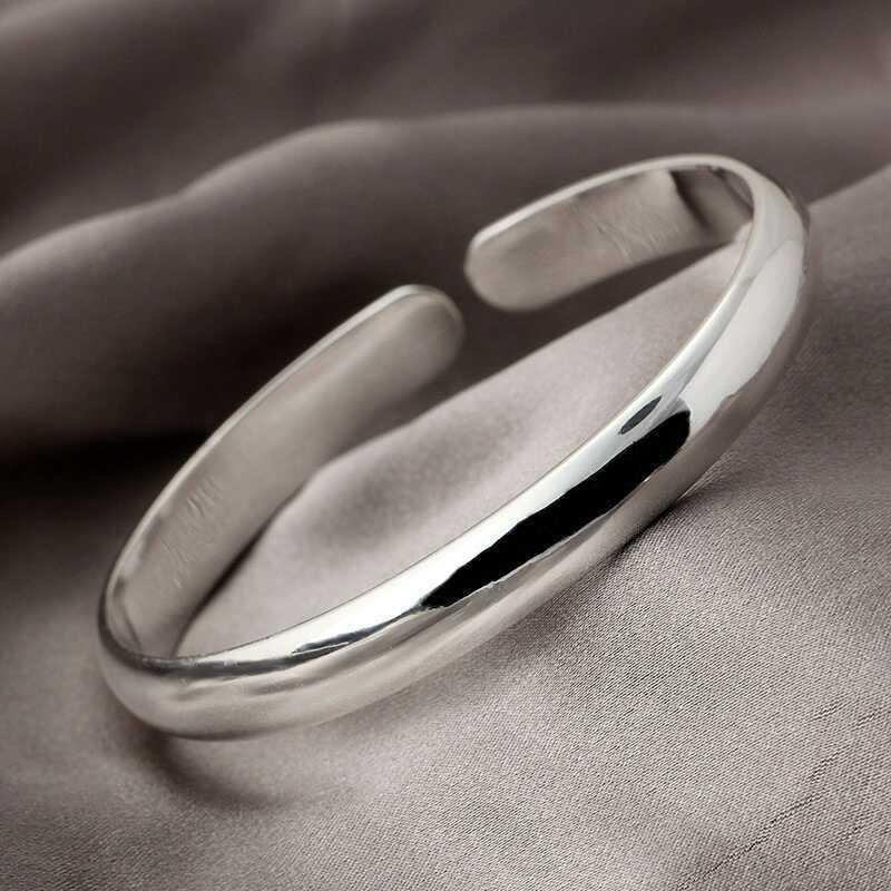 Femmes Hommes ouvert Brecelet ordinaire fini poli manchette unisexe Bracelet manchette Bracelets Homme ouvert Bracelets pour les femmes Bijoux Fashion