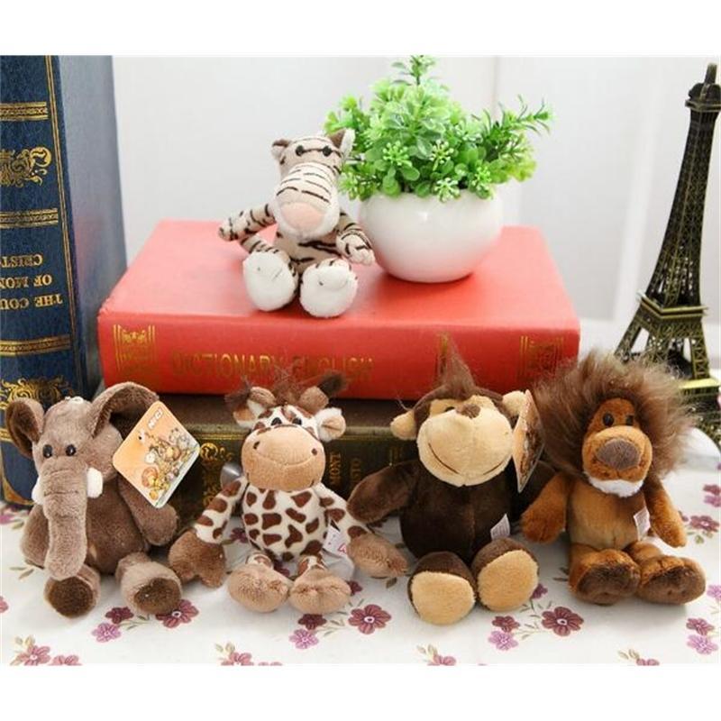 5pcs / lot 15 centímetros Presentes Toy Melhores bonito Stuffed Boneca selva Irmão Tiger elefante Lion Macaco Giraffe Plush animal for Kids 200925