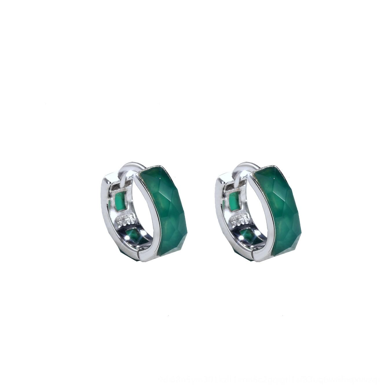 ZixVg S925 argento agata e orecchini maschili sintetico intarsio coreano orecchini stile alla moda neri delle donne agata verde personalizzato
