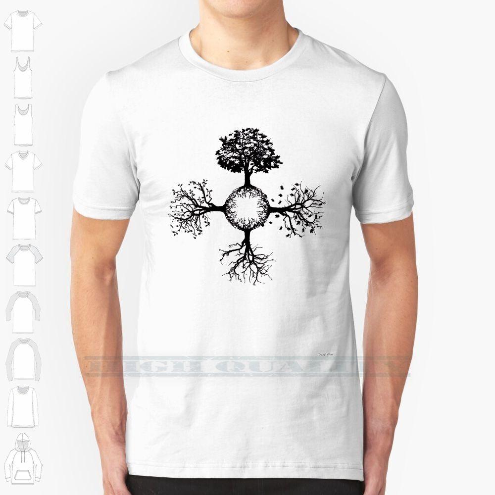 4 Seasons дерева на заказ Дизайн Печать Мужчины Женщины Хлопок New Cool Tee майка Большой размер 6XL Сезон дерево зима