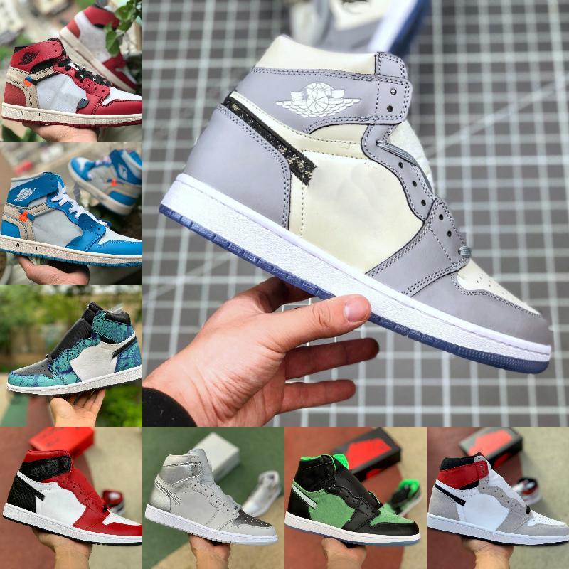 Nike Air Jordan 1 retro jordans x Dior hombres de obsidiana white 2021 ASG UNC carmesí Tinte sin miedo Retroes prohibidos 1s Zapatos Chicago Mujeres Blanco Gris Deportes