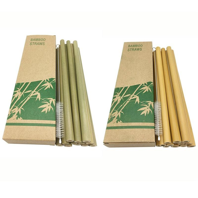 12pcs / set 20cm Bambou Paille pour boire réutilisable Eco Friendly Handcrafted en bambou naturel Straws Livraison gratuite WB2657