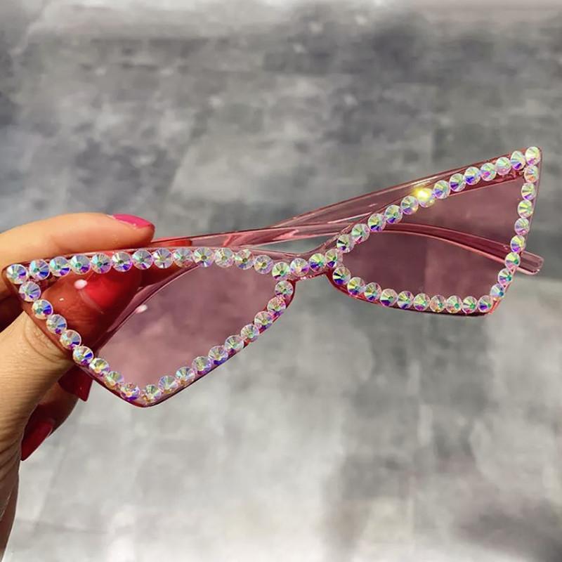 Luxus süßigkeiten rahmen schick sonnenbrille weibliche mode neue schattierungen augen kristall dreieck für katze elegante sonnenbrille farbe glänzend frauen lpxbf