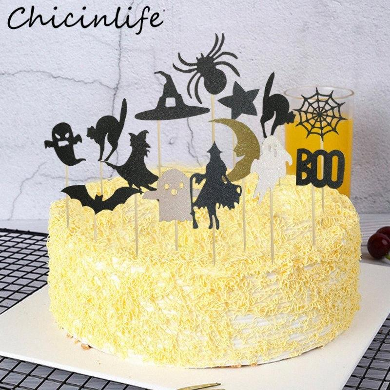 Chicinlife 12Pcs Halloween Pumpkin Skull Cat Hat Ghost Witch Spider Web Bat Cupcake Toppers Happy Halloween Party Cake Supplies WwiI#