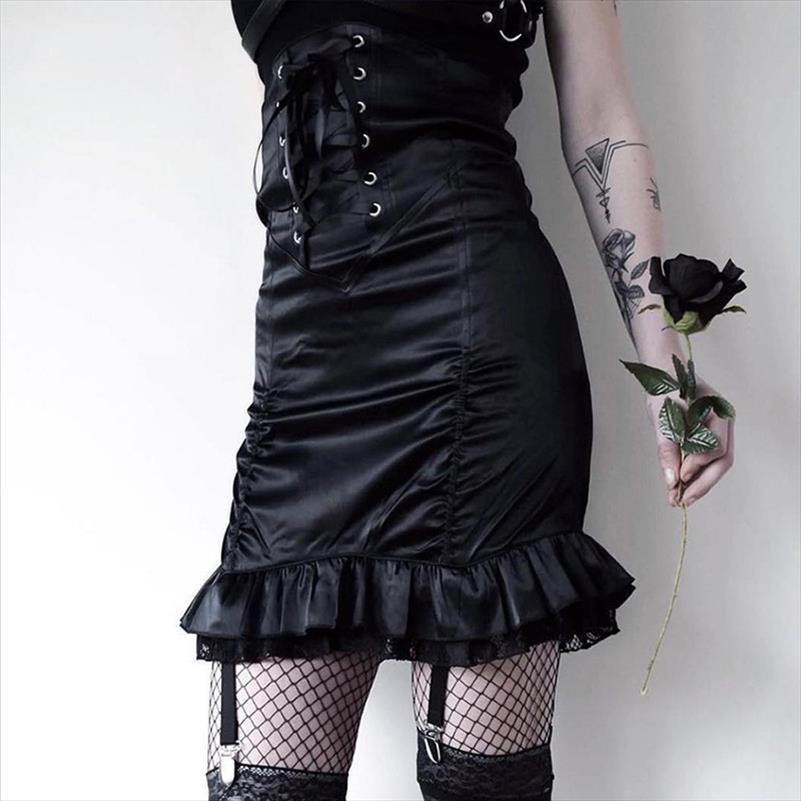 Bandaj Skinny etekler fırfır kadar Goth Koyu Yüksek bel dantel kadınlara kalem etekler dantelli dantel katı zarif BODYCON Mini 2020 etek