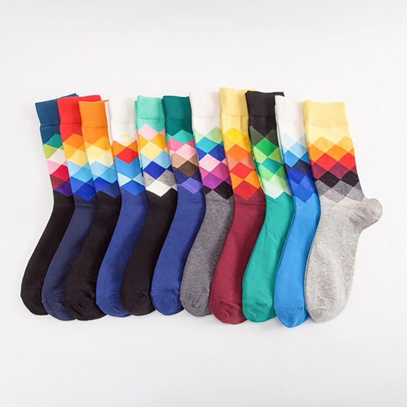 Outono Inverno coreano estilo longo Sock Sports Meias Mid Tubo Socks Pattern Colorful Diamante Sock por Homens respirável Algodão