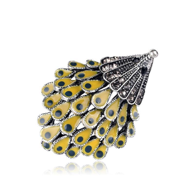 Personalidad estereoscópica erizo amarillo de piel aleación antigua Cabeza esmalte erizo salvaje broche broche de joyería de las mujeres Animal prendedores