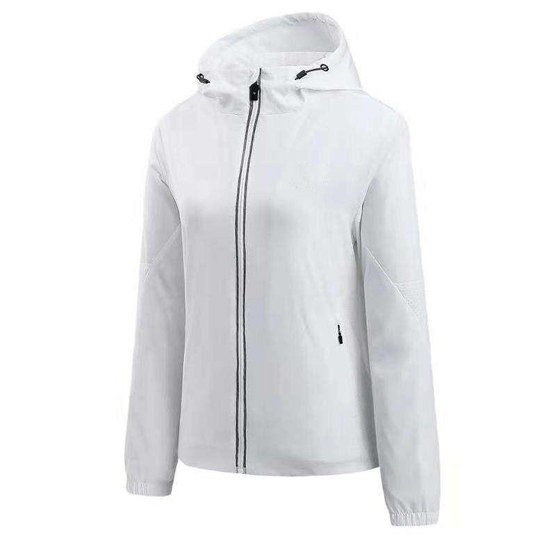 Kadınlar Ceket Coat Moda Yeni Şık Kapşonlu Ceket Kadınlar WINDBREAKER Fermuar Kapüşonlular Yüksek qualuty Sportwear Beyaz ve Pembe M-2XL