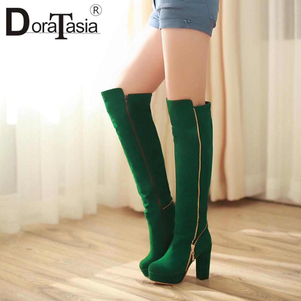 DORATASIA elegante Sólidos Platform menina Sólidos Meia-perna Botas 2020 Consise Botas Mulheres Salto Alto designer de moda Sapatos Mulher