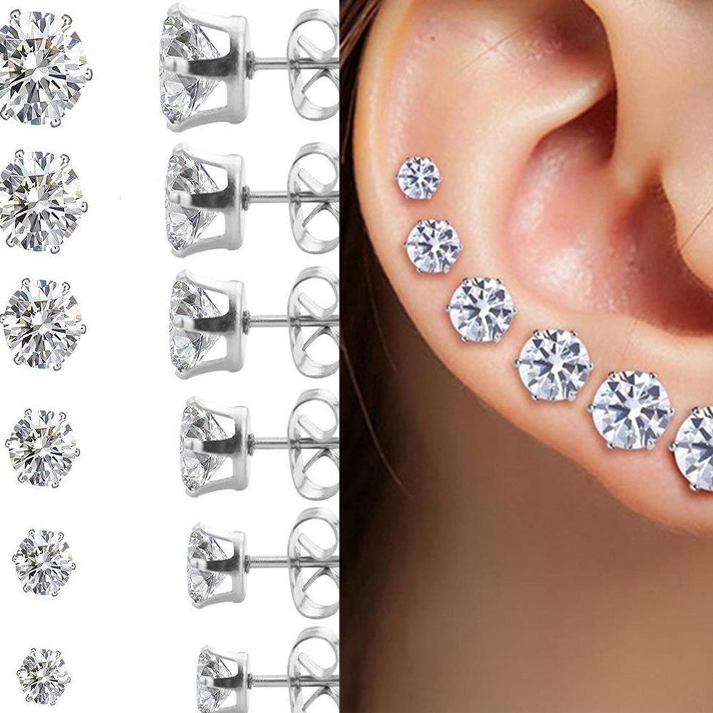 5 Pair/lot CZ Zircon Stud Earrings Punk Sliver Plated Women Diamond Charms Stud Earrings Jewelry Wholesale