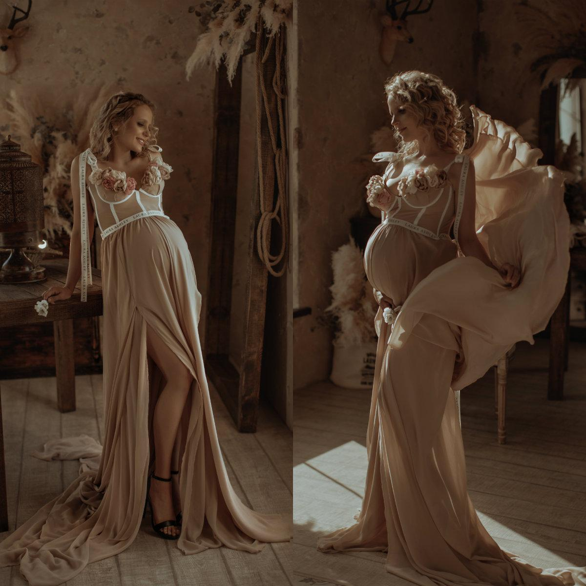 Champagne maternité Robes en mousseline de soie robe de mariée de Split Boudoir de nuit Peignoirs Nightgowns robe photo Props Shoot
