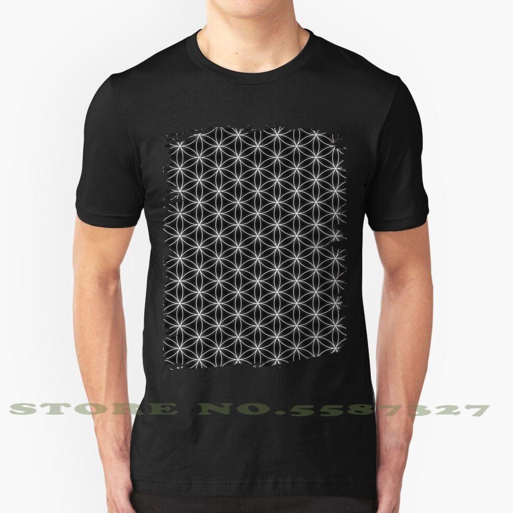 Flower Of Life Pattern Прохладный Дизайн Модные футболки Tee цветок Жизнь шаблон Обложка Мандала Сакральная геометрия Медитация духовного