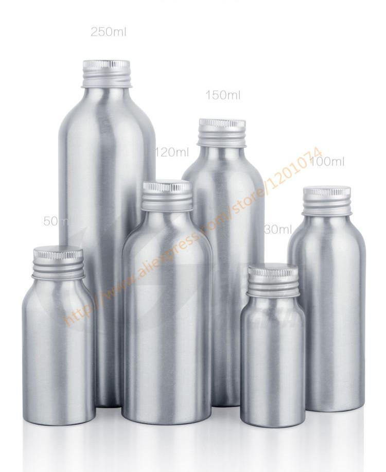 30 ml / 50 ml / 100 ml / 120 ml / botella de aluminio de 150 ml con tapa de aluminio, aceite esencial de la crema hidratante / recipiente de agua / líquido / facial