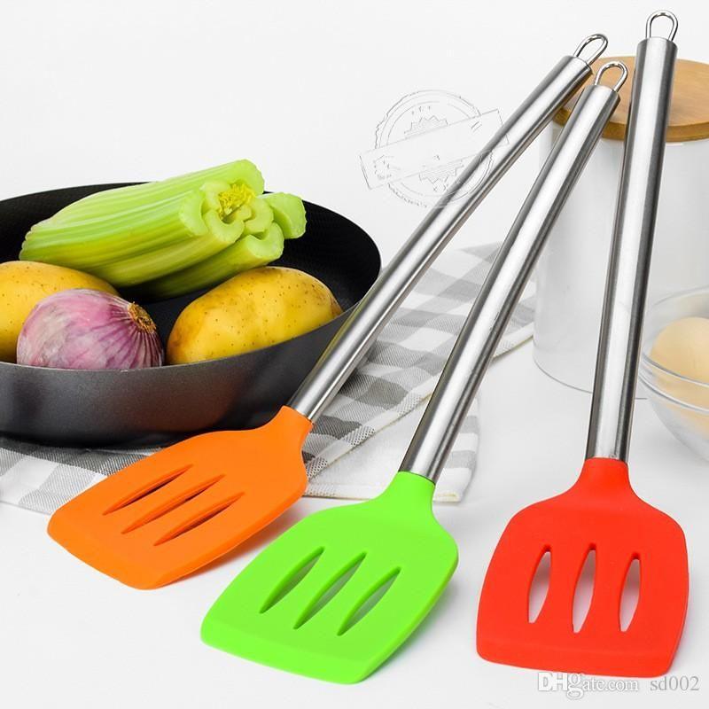 Silica Gel Truner Food Grade Materials Stainless Steel Handle Kitchen Cookware Parts Anti Scald Heat Resistant Nonstick 4 8mra dd