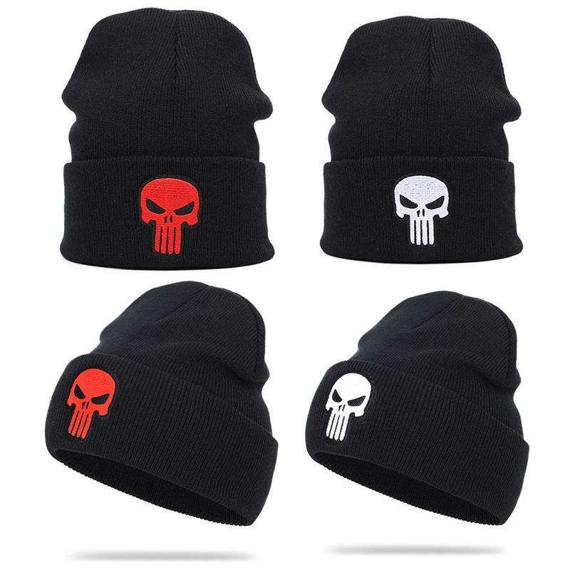 2020 Nouveau Skullies pour les hommes en tricot crâne tricot brodé Beanies Casual Chapeau Chapeaux d'hiver chauds