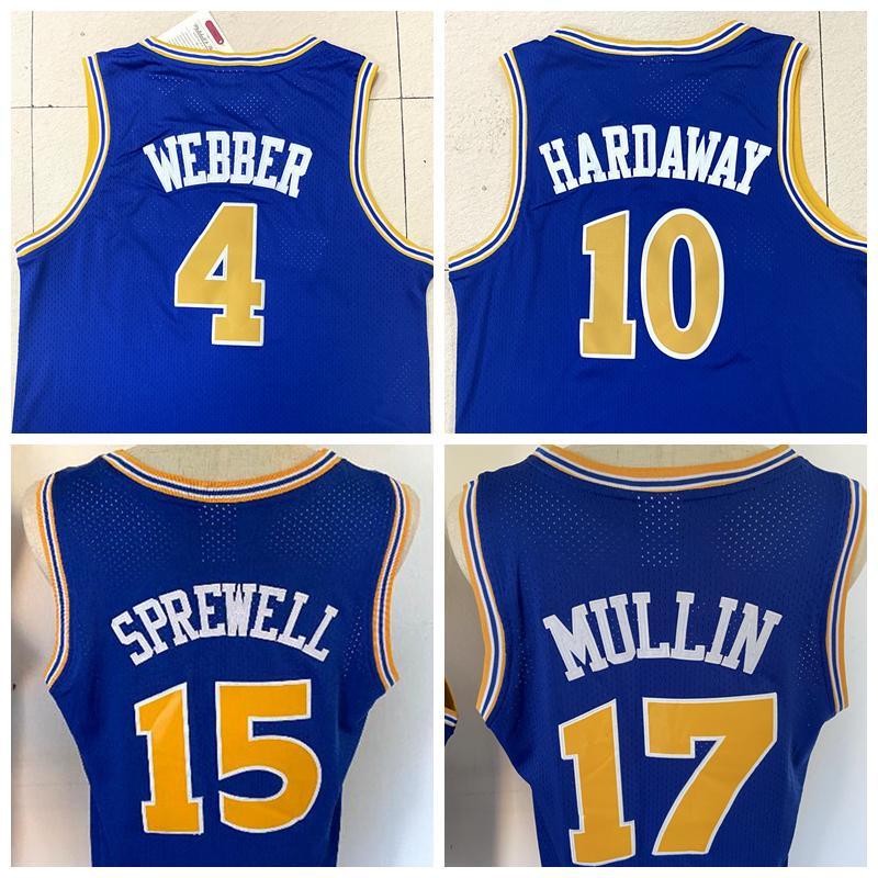 Großhandel # 4 Chiris Webber # 17 Chris Mullin # 15 Latrell Sprewell # 10 Tim Hardaway Basketball Jersey Alle genähtes Mesh-Jersey-freies Verschiffen