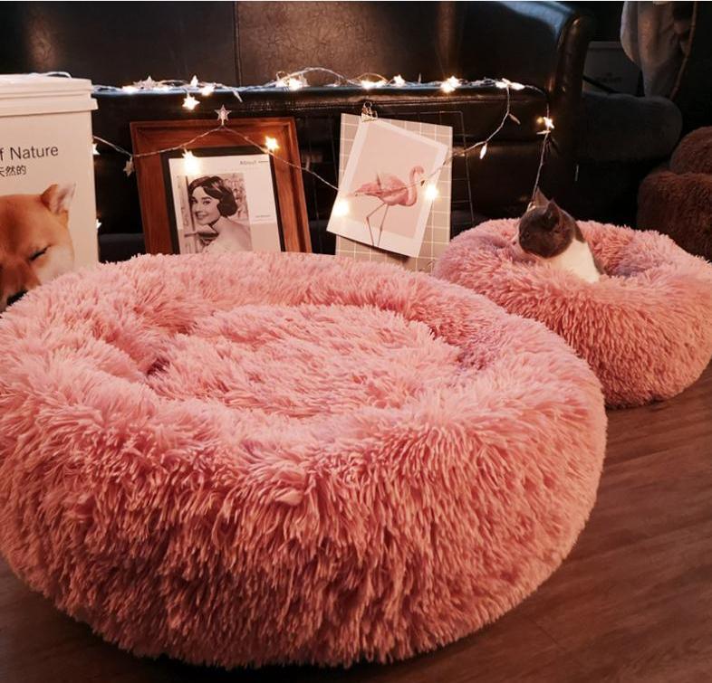 ГОРЯЧИЕ продавать Длинную Плюшевой Super Soft Pet Круглого Кровать Питомник собак Cat Комфортные Спящий Cusion Зимний дом Cat Подогреть кровати собаки товары для животных