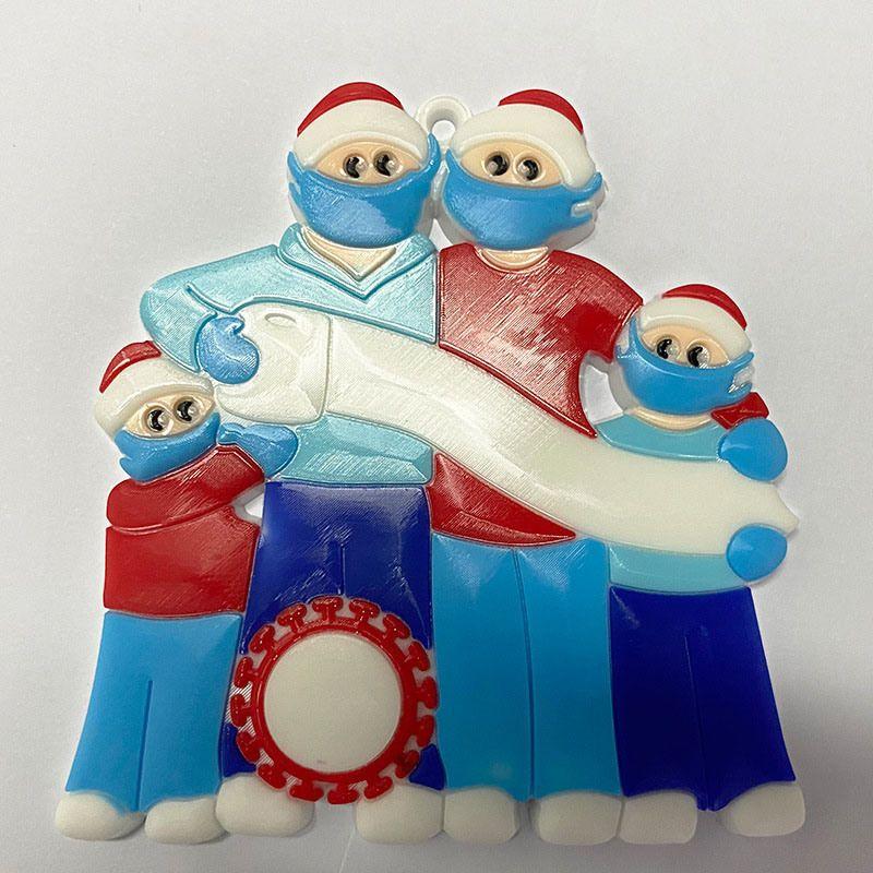 عيد الميلاد شجرة العائلة قلادة الناجي عزل PVC قناع ثلج معلقة تحيات قلادة الأمازون DIY اسم الديكور 3D زخرفة عيد الميلاد