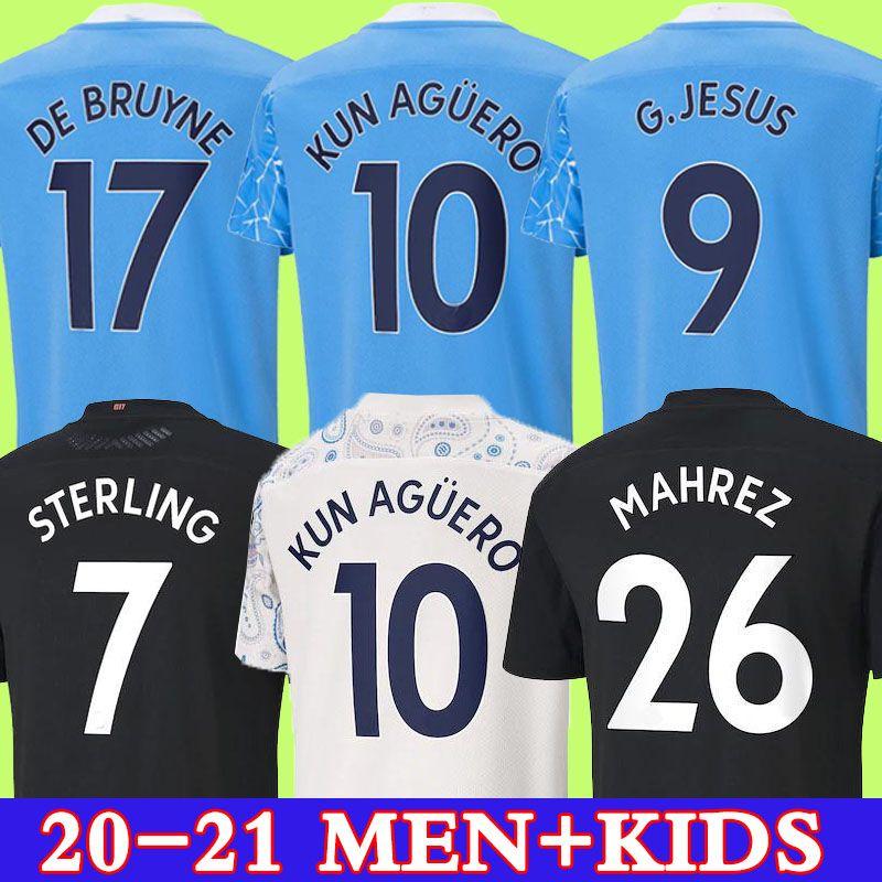 لاعب المشجعين نسخة 2020 2021 STERLING DE BRUYNE KUN AGUERO MESSI 20 21 مانشستر قميص مدينة جيرسي لكرة القدم جيرسي لكرة القدم الرجال والأطفال عدة مجموعة