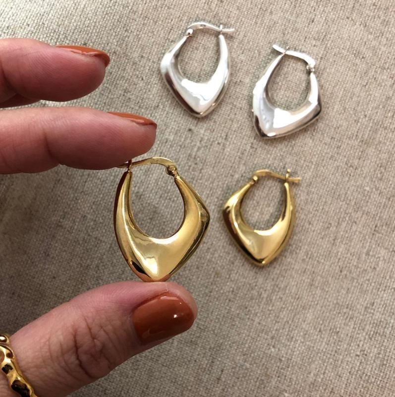 temperamento de la manera 100% 925 pendientes grandes irregulares de plata de ley pendientes de lujo del partido diseñador de joyas de las mujeres
