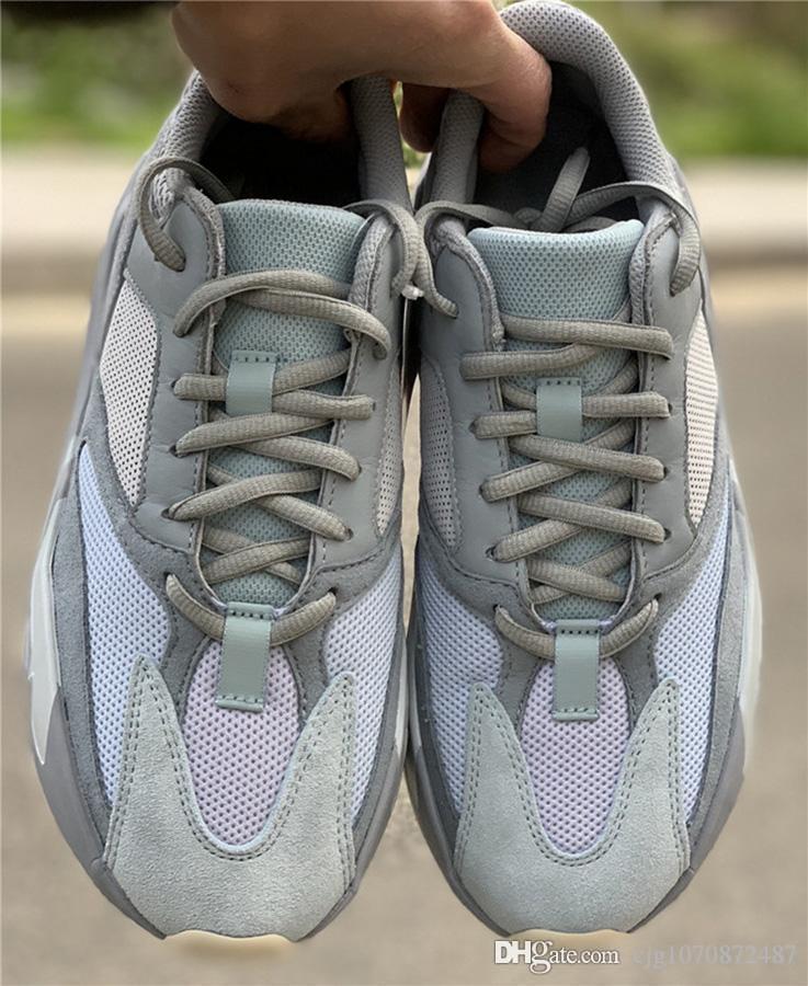 2019 Sıcak Satış İyi Otantik 700 Atalet Kanye West Koşu Ayakkabı Mavi Gri Erkekler Kadınlar Spor Sneakers APE779001 ile Kutusu ile Kutusu ABD 5-12