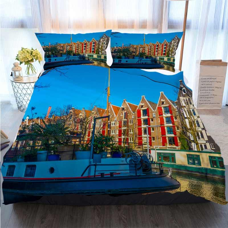 3D Impresso Feliz Natal Bedding Set Amsterdam edredon cobrir Edredons Designer Cama Sets