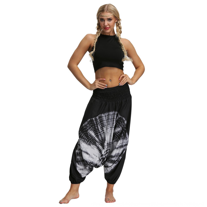 Tie-крашеные цифровые печатные женские спортивные большой размер йога штаны цифровой йога свободно промежность фонариков Танцевальные брюки ztkcg
