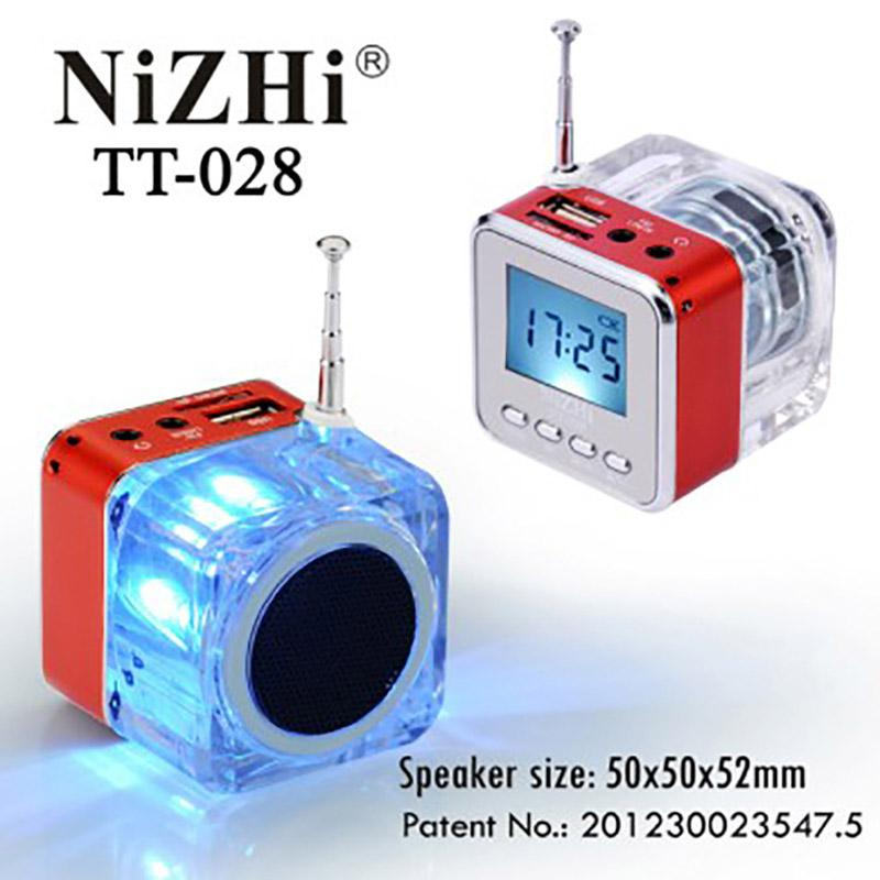 NiZhi TT-028 Mini Portable Speaker Multi-Colors LED Crystal Digital FM Radio USB Music MP3 Player LCD Display SD/TF