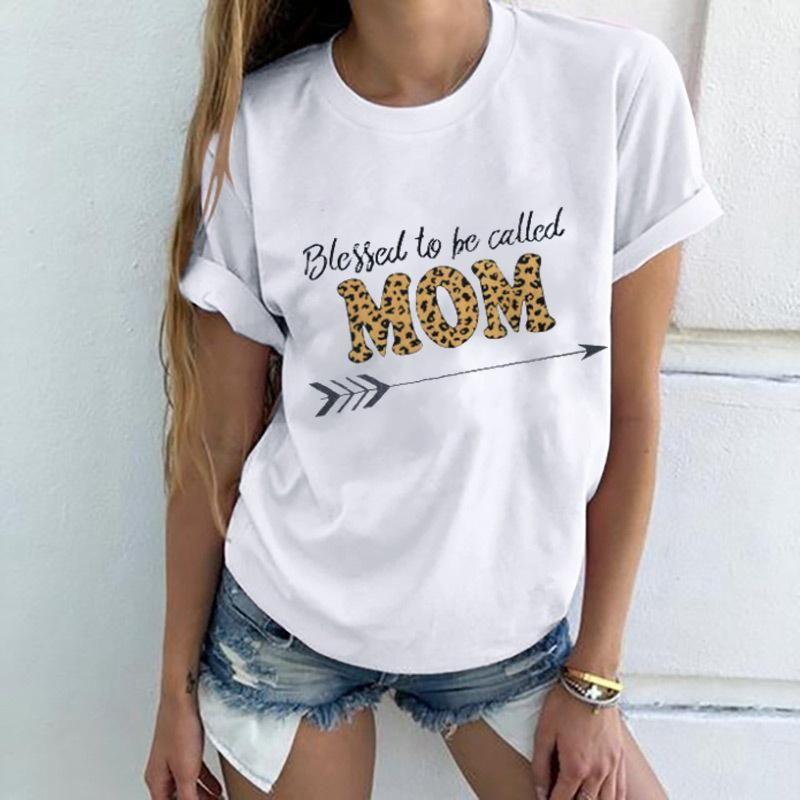 Suelta Tees Famale de cuello redondo camisetas de verano Carta nuevo leopardo camiseta ocasional de las mujeres Manga corta