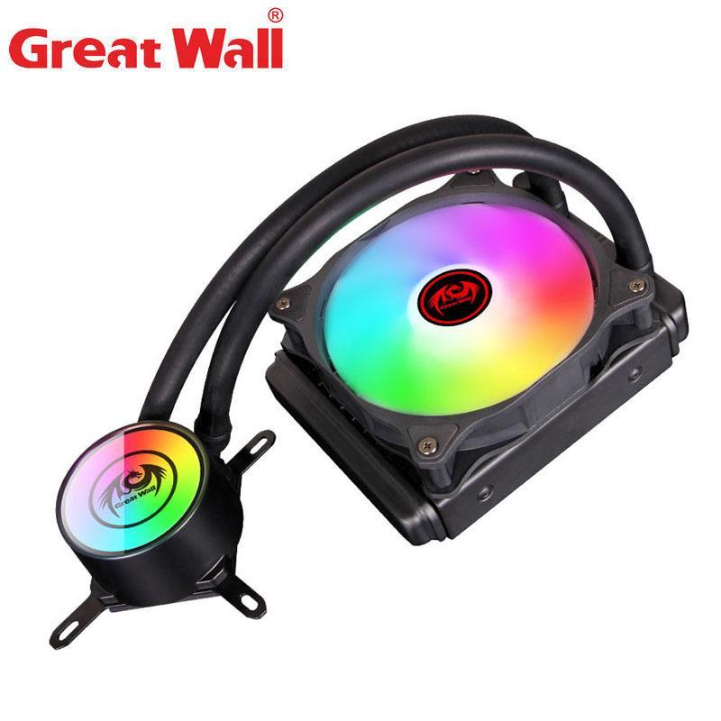 Fans & Coolings Great Wall Water Cooler CPU Heatsink 120mm Fan 4pin PWM Cooling For Intel 1150 1151 1155 1156 1200 RGB PC