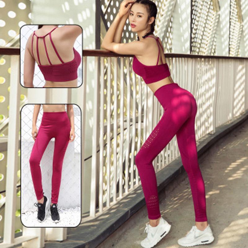 2020 bas sexy prix serré Ropa Deporte Mujer Fitness Vêtements Femmes Yoga Set Fitness Set Femmes Y200904