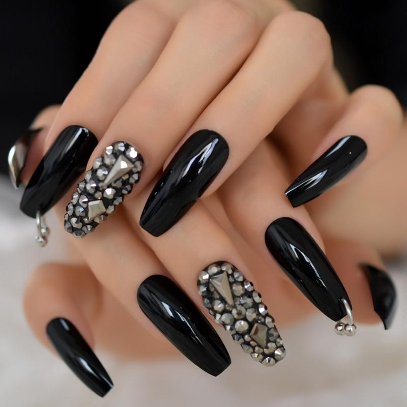 Argent Diamant brillant Noir Brillant Ballerina Presse sur faux ongles extra long Coffin Gel UV colle sur Fingersnails Rubans adhésifs