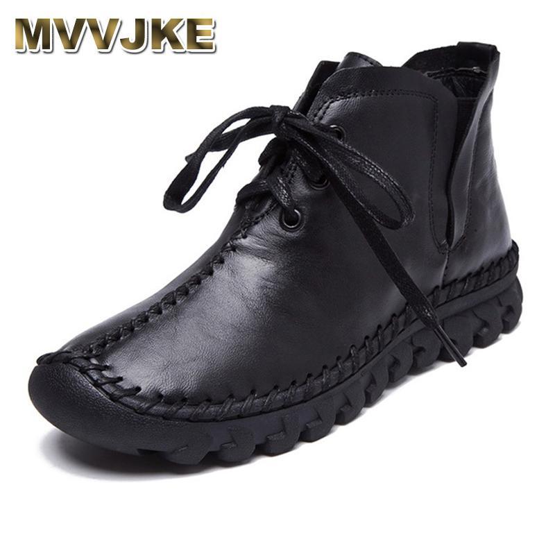 MVVJKE 2020 inverno quente Mulheres botas macias Genuine couro liso Botas para mulheres Botas Handmade Lace Up Mar