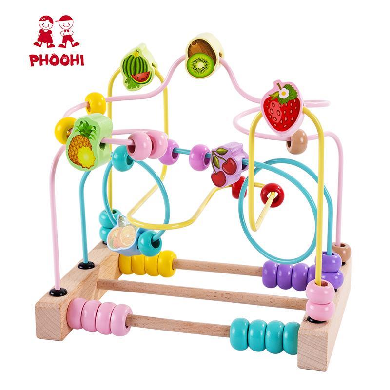 خشبية حبة المتاهة لعبة مونتيسوري الفاكهة الرول كوستر تربية الطفل الرياضيات لعبة للأطفال PHOOHI LJ200907