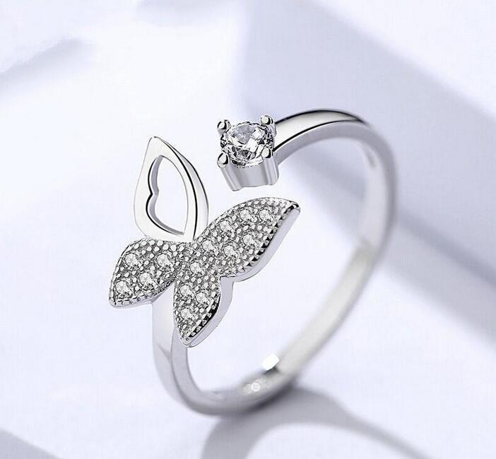 Moda cúbicos zircão cristal Anéis da borboleta para mulheres platinadas anéis de casamento jóias abertura ajustável anel de dedo Epacket livre