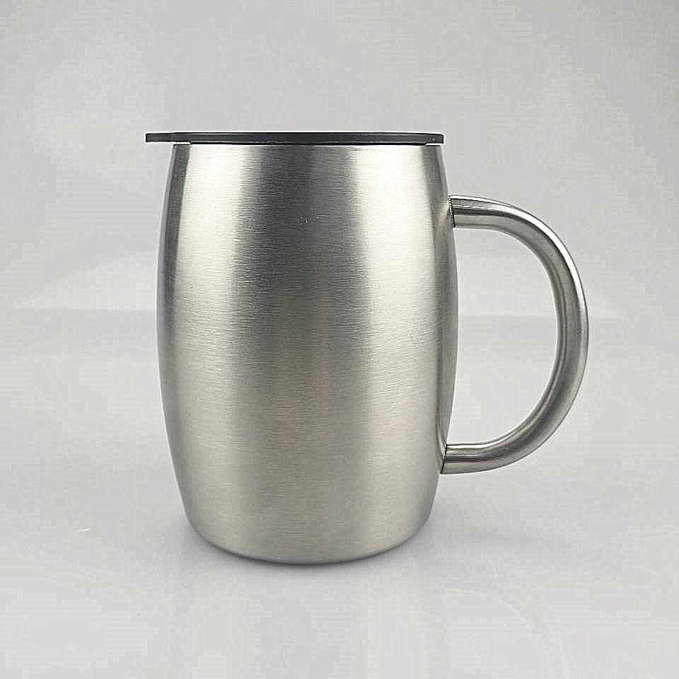UPS! 14 Unzen Edelstahl Tumblers Doppelte Isolierung Kaffeetassen Haushaltswasserflaschen mit Handgriff Multifunktionale Klassische Tassen A12