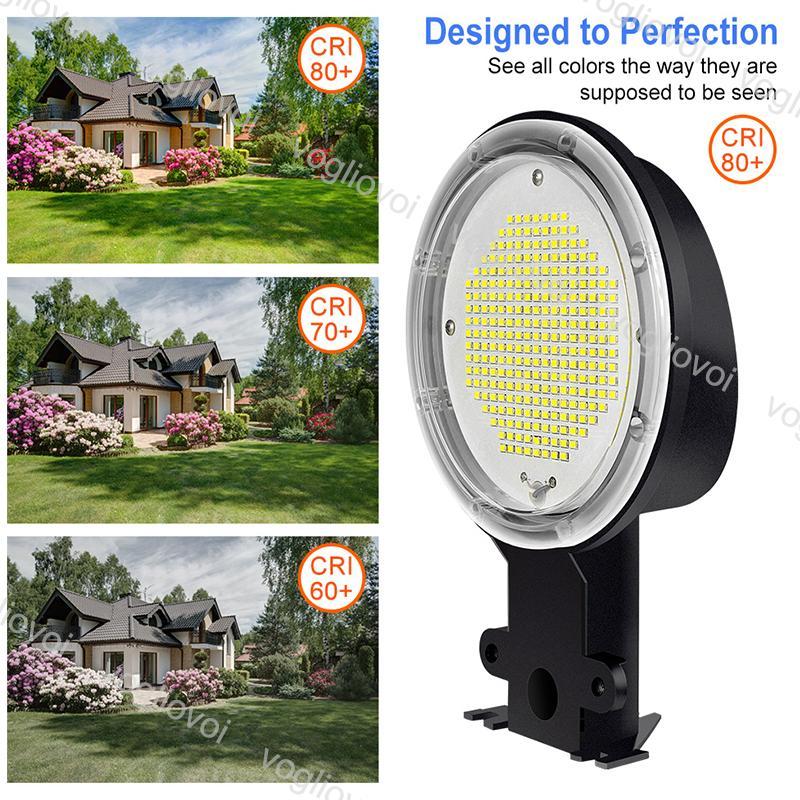 Luzes de rua Sensor de luz inteligente 35/50/70 / 80/18 / 120W Lâmpada de celeiro 100-277V Holofotes à prova d'água iluminação ao ar livre para quadra de tênis Garagem DHL
