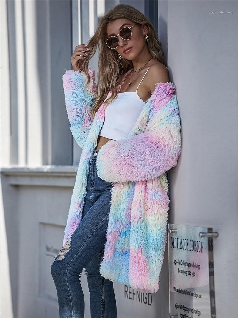 Escudo de tinte abierto de la manera del color del caramelo de la puntada ropa Otoño Invierno Cardigan de imitación de piel gruesa abrigos de diseño para mujer del lazo