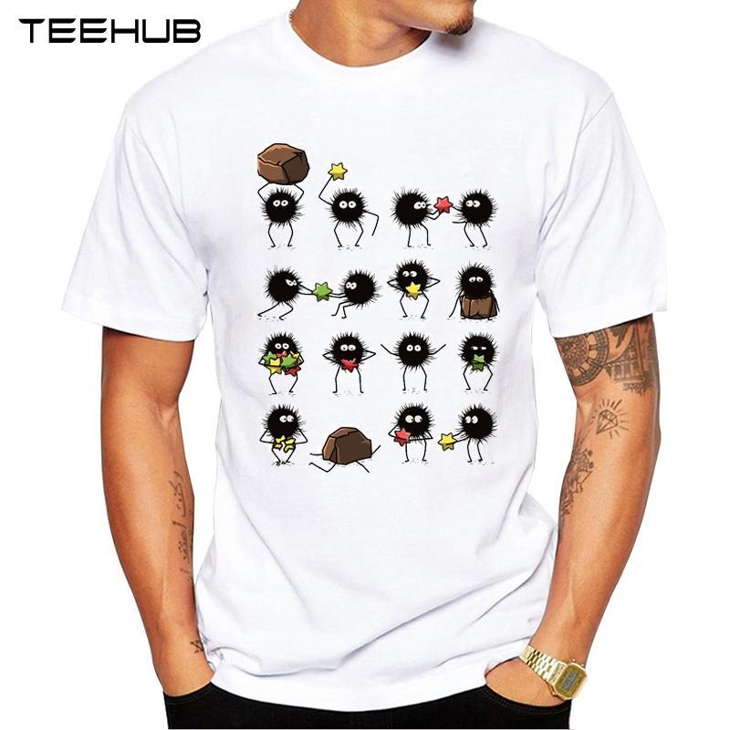famiglia Susuwatari nuovo modo TEEHUB uomini di disegno manica corta T-shirt cool Top stampati Hipster Tee Shirts