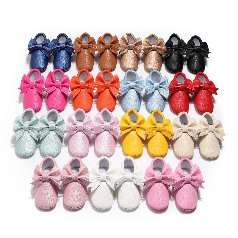 Детская обувь Детская повседневная обувь малышей девушки дышащая PU Bow Anti-Slip Повседневная кроссовки Infant Soft Soled Первый ходунки